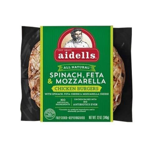 Aidells Chicken Burgers Spinach & Feta (8 pc)