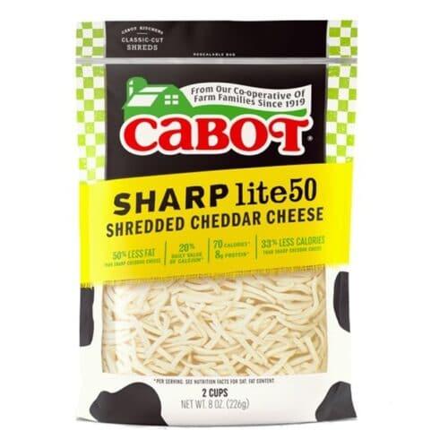 Cabot Shredded Sharp 50% Reduced Fat White Cheddar  (12 pc)