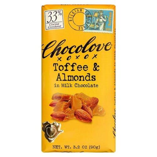 Chocolove Toffee & Almonds Milk Chocolate 33%
