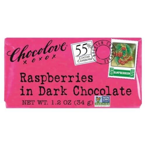 Chocolove MINI Raspberries in Dark Chocolate 55%