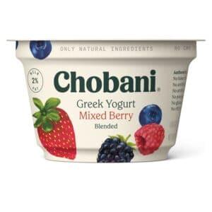 Chobani Greek Yogurt 2% Fat Mixed Berry Blended