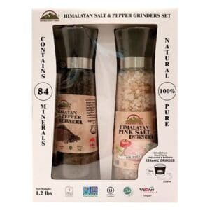 Himalayan Tall Pink Salt & Black Pepper Grinder Set