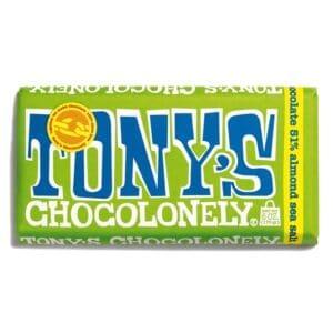 Tony's Chocolonely 51% Dark Choco Bar w/ Almond & Sea Salt