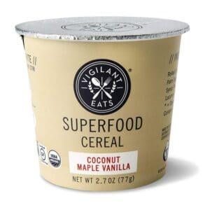 Vigilant Eats Org. Superfood Cereal Cups Coconut Maple Vanilla